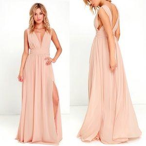 Lulus Heavenly Hues Blush Maxi Bridesmaid Dress